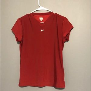 Under Armor active wear red shirt